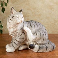 Merlin Striped Gray Cat Sculpture