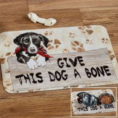 Give This Dog a Bone Pet Food Bowl Mat