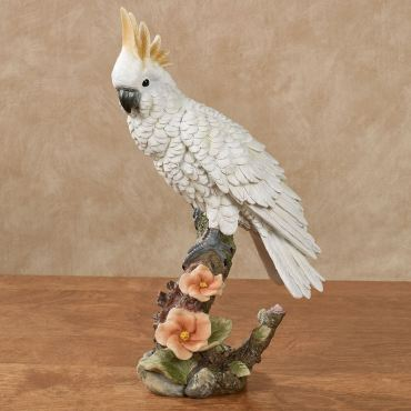 Perching Paradise Cockatoo Parrot Table Sculpture