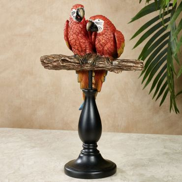 Parrot Gathering Red Macaw Table Sculpture