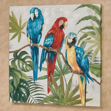 Parrots in Paradise Tropical Canvas Wall Art