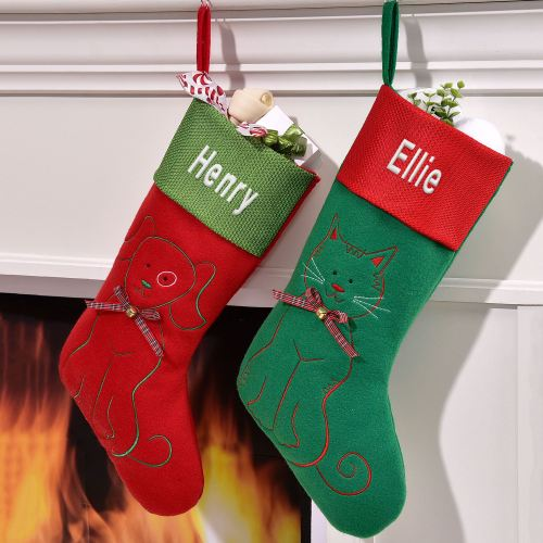 Embroidered Pet Christmas Stockings