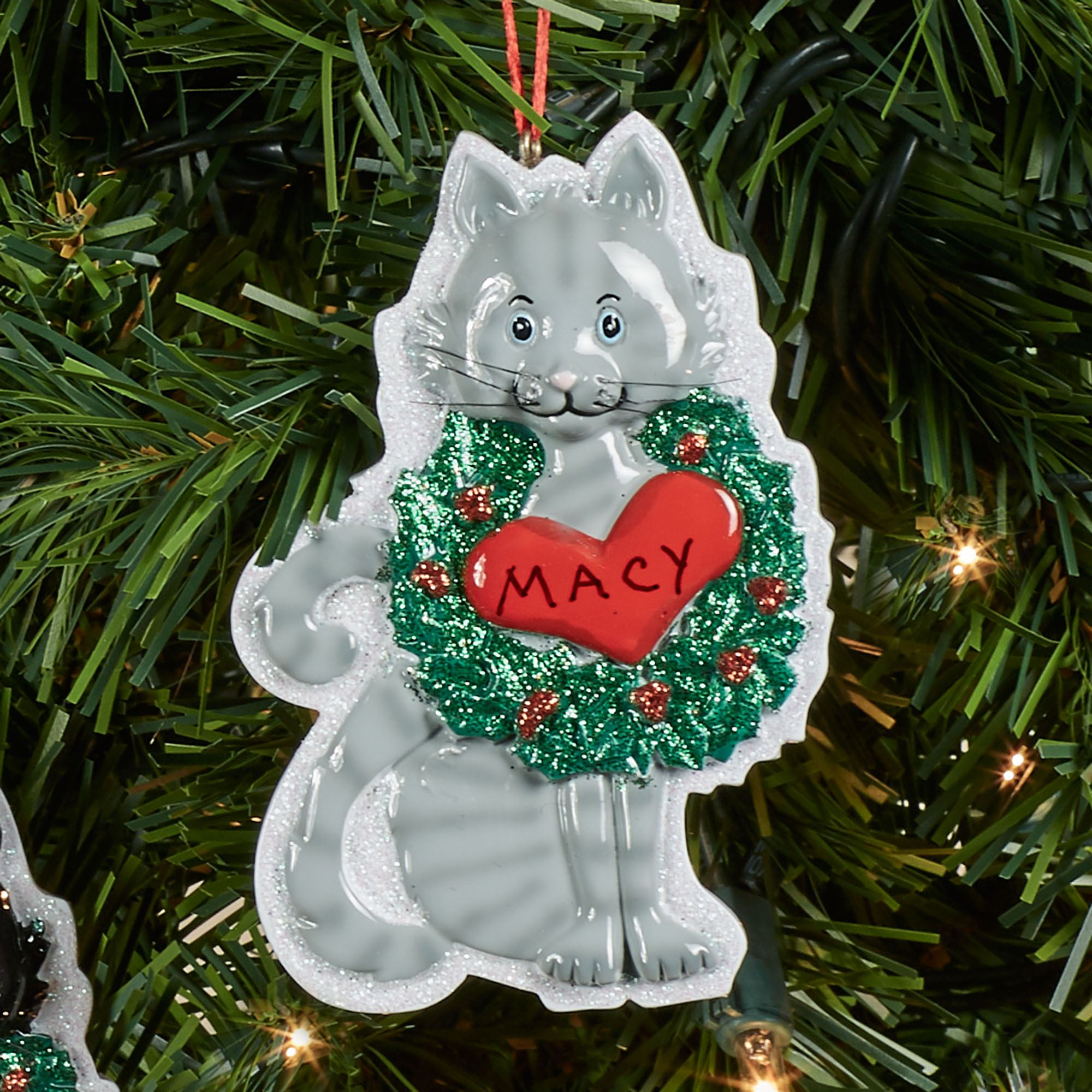 Gray Cat Christmas Ornament