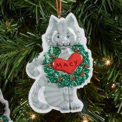Gray Cat Christmas Ornament