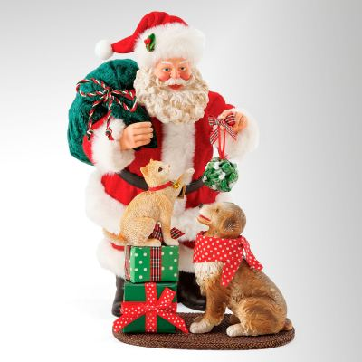 Mistletoe and Holly Clothtique Santa Figurine