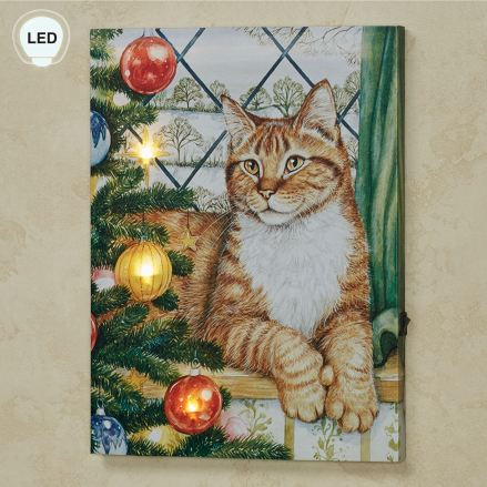 Kitten with Christmas Tree LED Lighted Canvas Wall Art