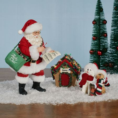 Jingle Paws Santa and Dogs Clothtique Figurine Set