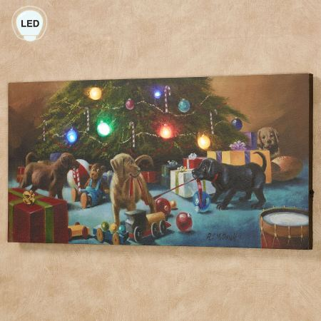 Christmas Mischief Labrador Puppies LED Lighted Canvas Wall Art