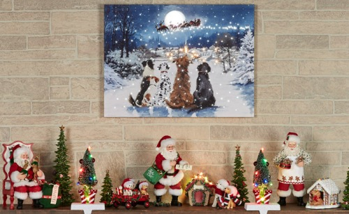 Christmas Mantel with Pet Figurines
