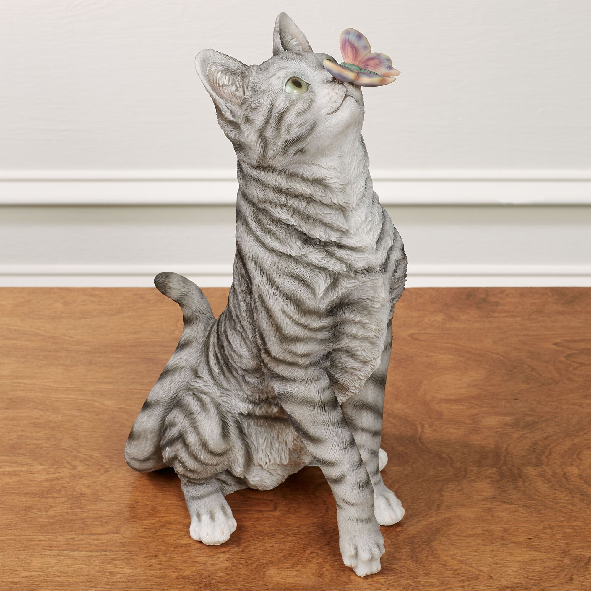 Intrigued Gray Cat Sculpture