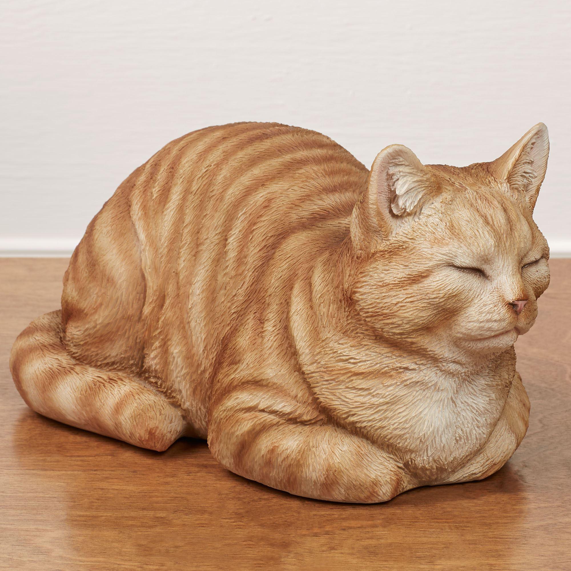 Resting Orange Cat Sculpture