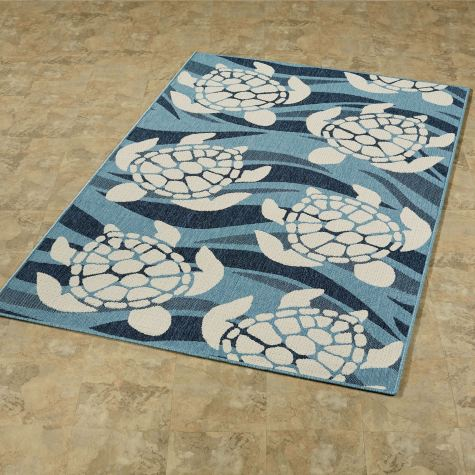 Swimming Sea Turtles Rug