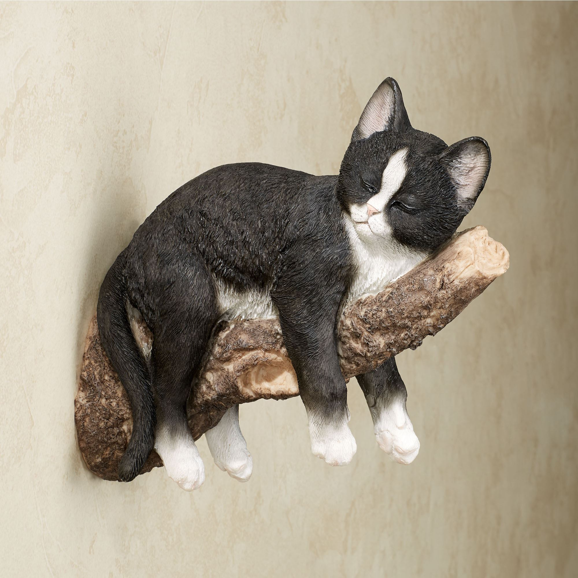 Catnap Black and White Sleeping Kitten Wall Accent