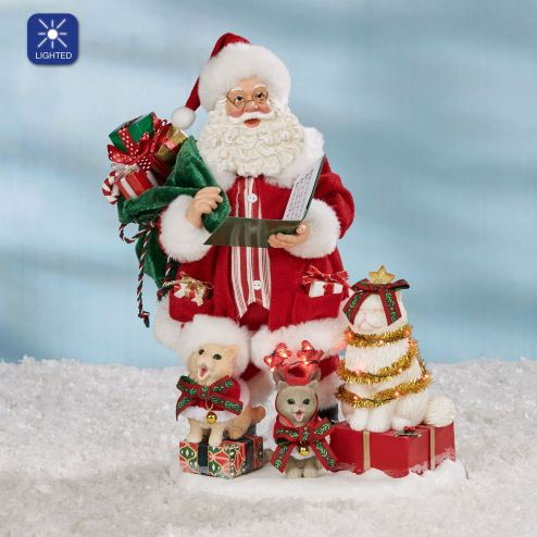 Kitten Carols Santa and Cats Clothtique Figurine