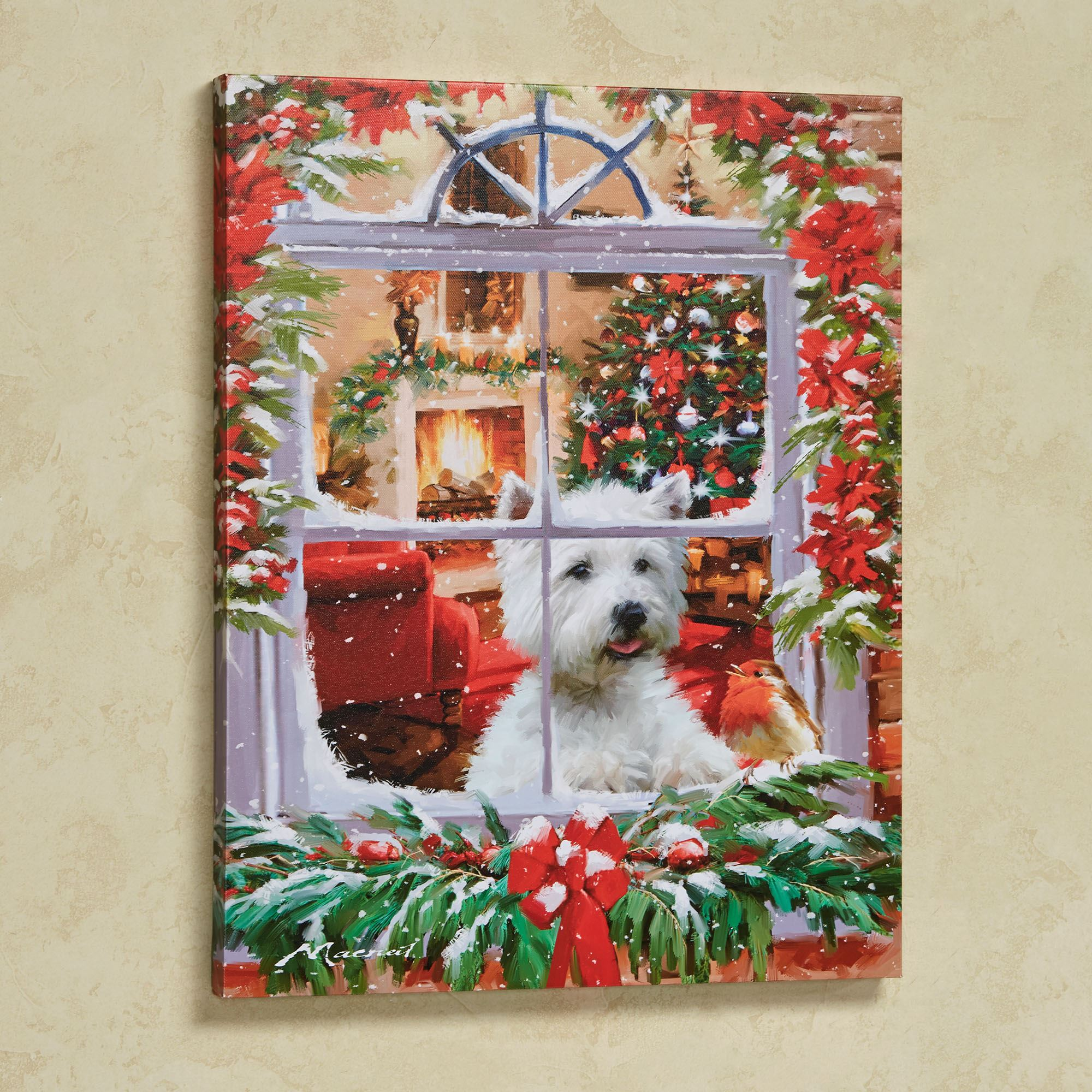 Dog Watching Robin Christmas Canvas Wall Art