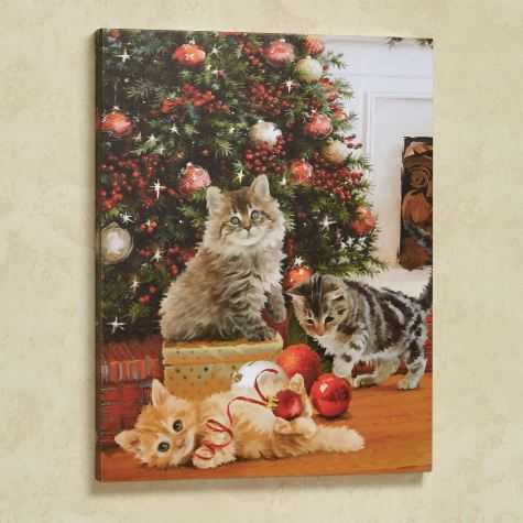 A Kitten Christmas Cats Canvas Wall Art