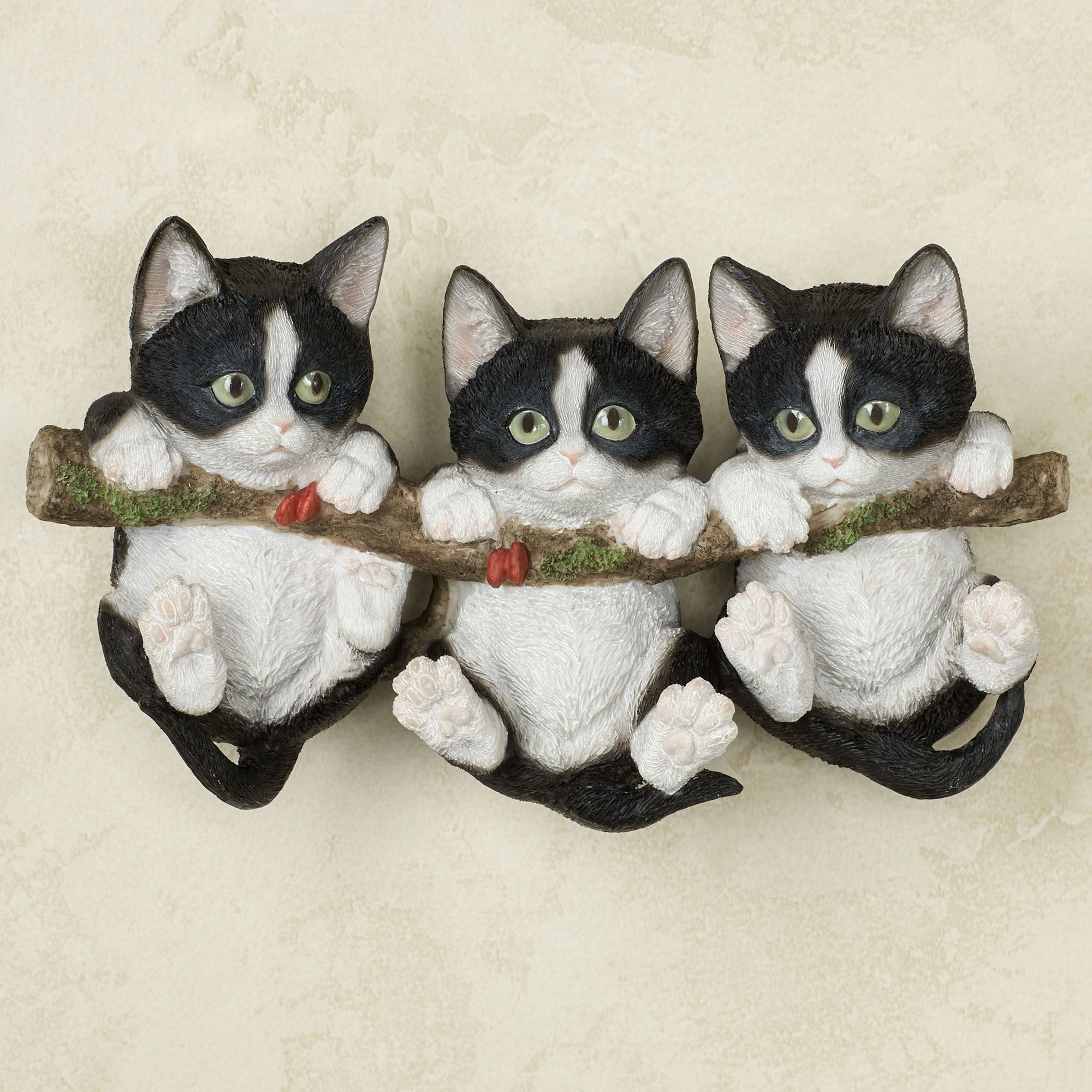 Trio of Black Kittens Cat Wall Accent