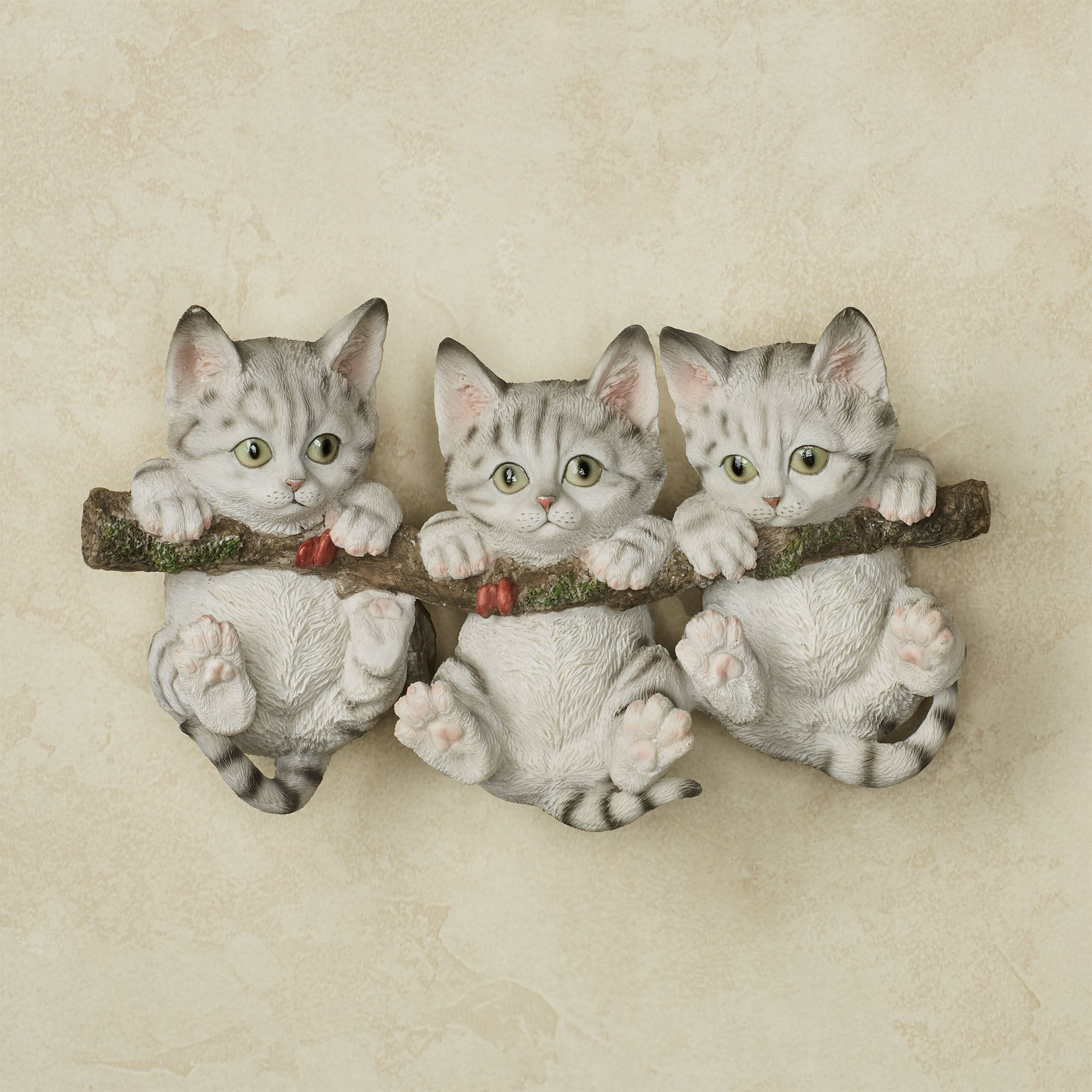 Trio of Gray Kittens Cat Wall Accent