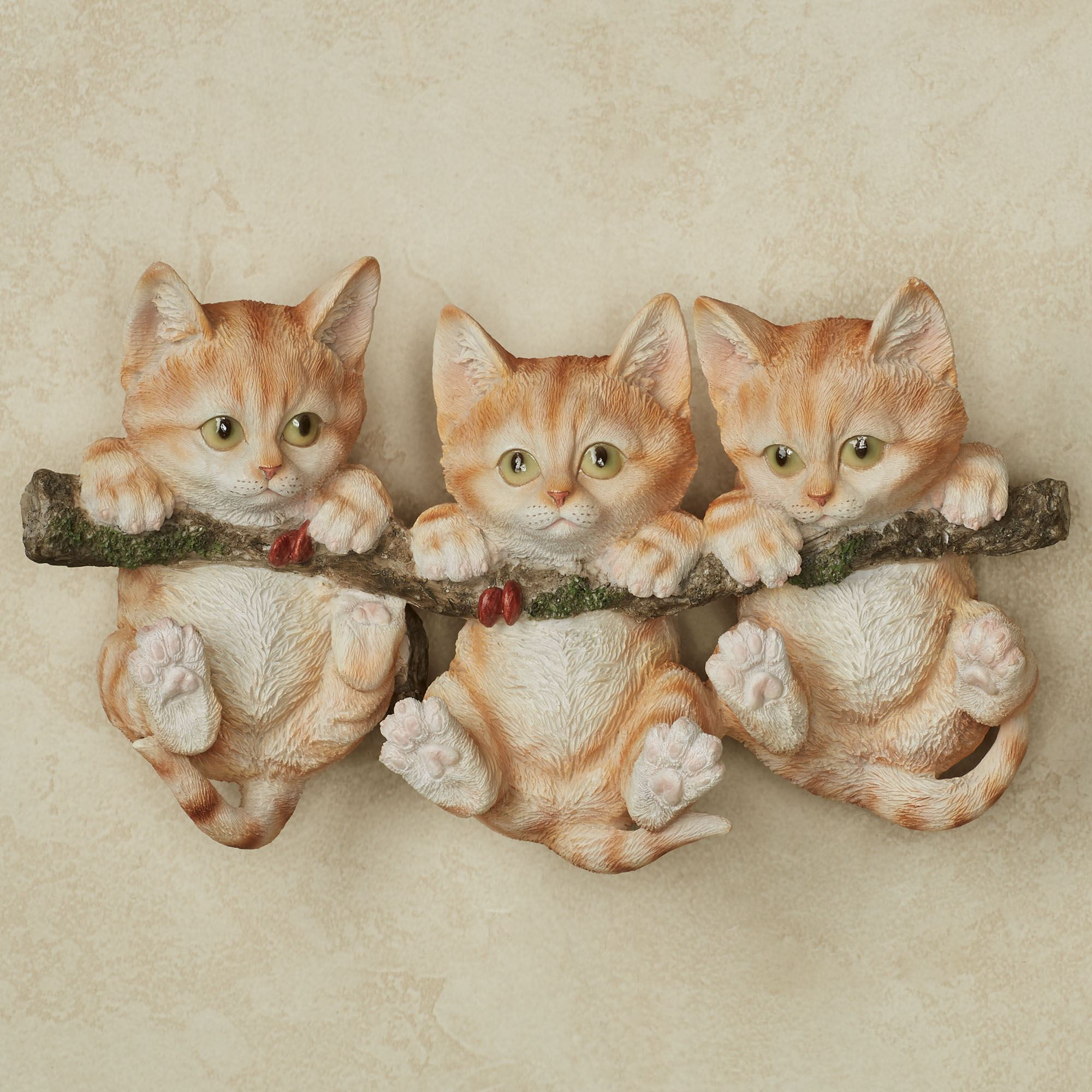 Trio of Orange Kittens Cat Wall Accent