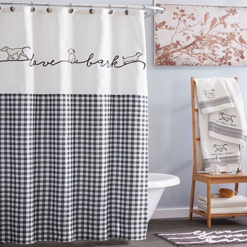 Farmhouse Dogs Plaid Shower Curtain